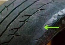 Các vết lõm hoặc phồng có thể báo hiệu dấu hiệu bong mặt lốp.